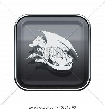 Dragon Zodiac Icon Grey, Isolated On White Background.