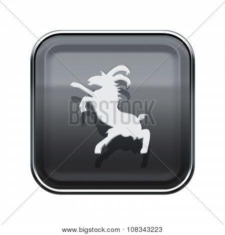 Goat Zodiac Icon Grey, Isolated On White Background.