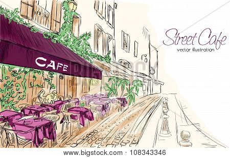 Colorful Vector Illustration Of Street Cafe In Purple Colors