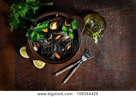 Mussels In A Pot, View From Above
