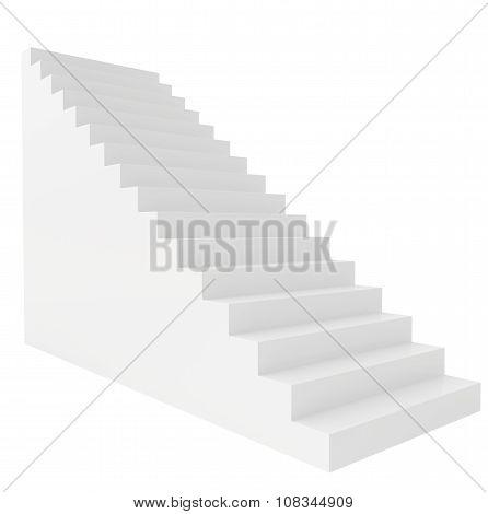 Empty stairs. Isolated on white background. Way upward