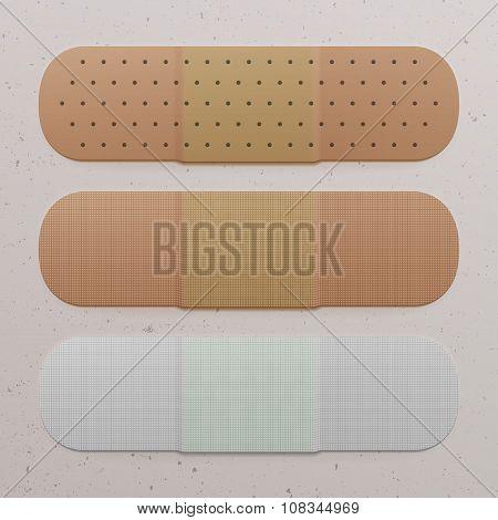 Realistic medical adhesive Bandage Set