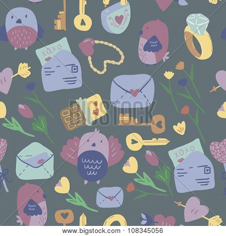 Love Letter seamless vector pattern