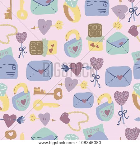 Love Letter seamless vector pattern with adorable sweets, letters, keys and hearts.