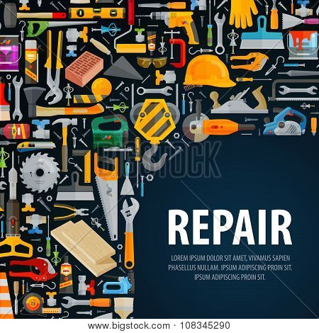 working tools vector logo design template. construction or repair icons