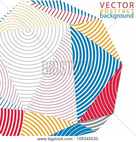 Vector Complicated 3D Backdrop, Modern Digital Technology Style Form. Abstract Stripy Bright Three-d