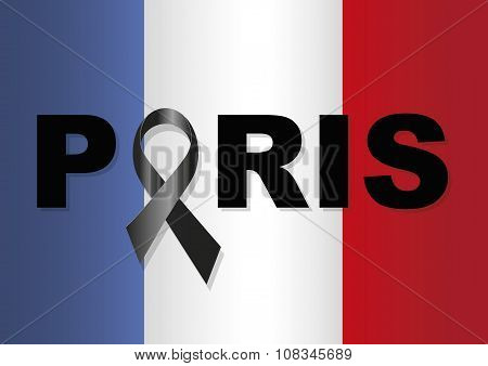 France Flag Paris Black Ribbon