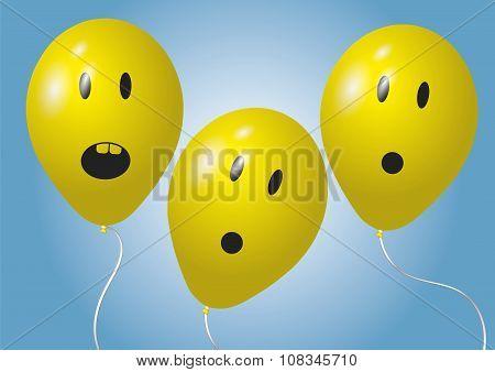 Three Surprised Balloons