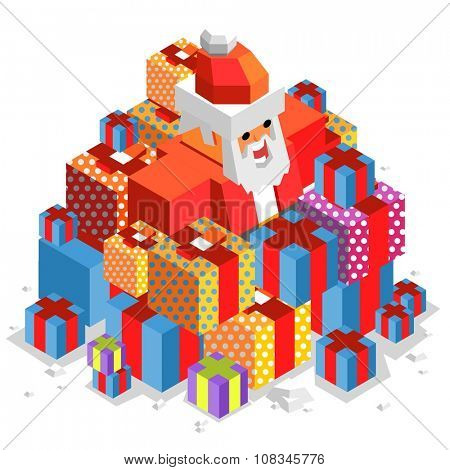 xmas time with Santa. vector isometric