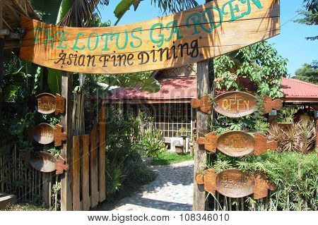 Lotus Garden Sign in Palawan, Philippines