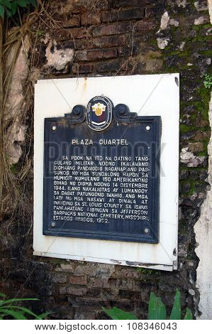 Plaza Cuartel Marker in Palawan, Philippines