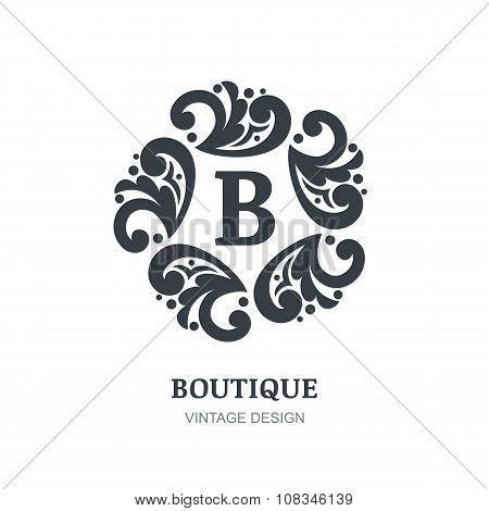 Decorative Retro Ornament, Flourishes Black Frame Background.