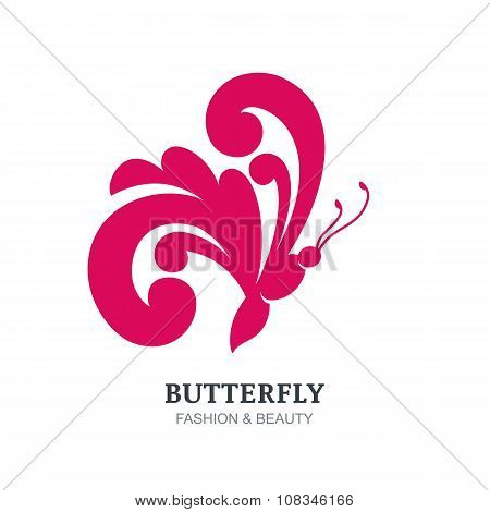 Vector Illustration Of Decorative Butterfly Silhouette.