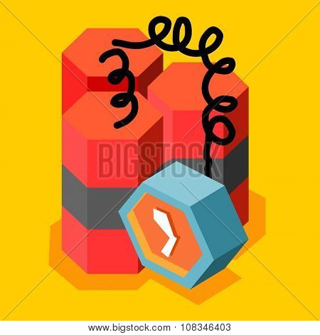 Time bomb and terror, vector cartoon