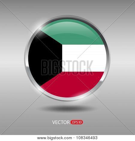 Shiny, glossy vector badge with Kuwait flag