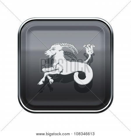 Capricorn Zodiac Icon Grey, Isolated On White Background