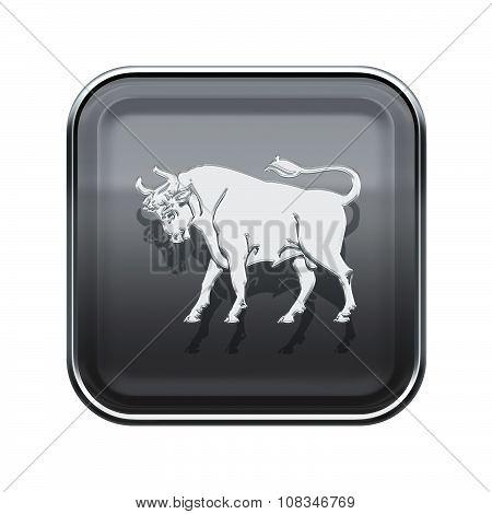 Taurus Zodiac Icon Grey, Isolated On White Background