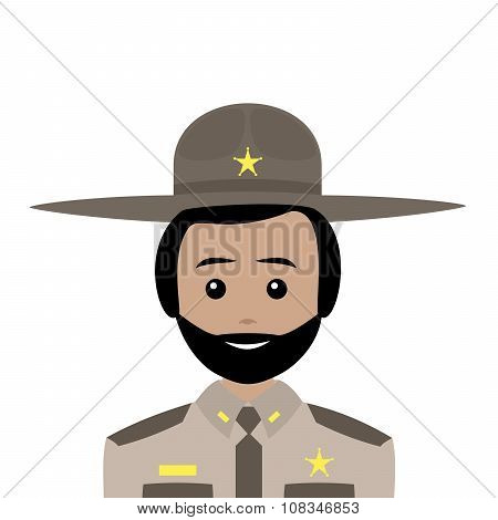 Sheriff With Black Hair And Beard