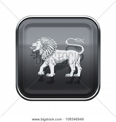 Lion Zodiac Icon Grey, Isolated On White Background