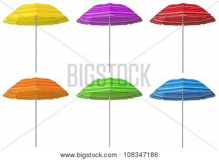 Beach Striped Umbrellas - Colorful