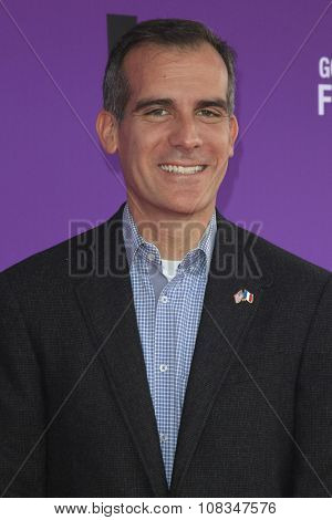 LOS ANGELES - NOV 15:  Eric Garcetti at the Express Yourself 2015 presented by P.S. ARTS at the Barker Hanger on November 15, 2015 in Santa Monica, CA