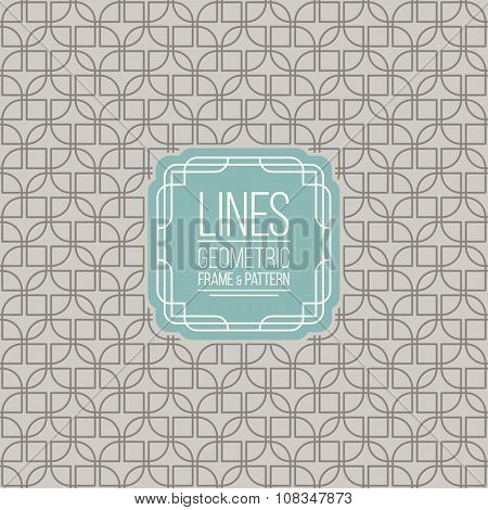 Line Pattern And Linear Frame in retro colors