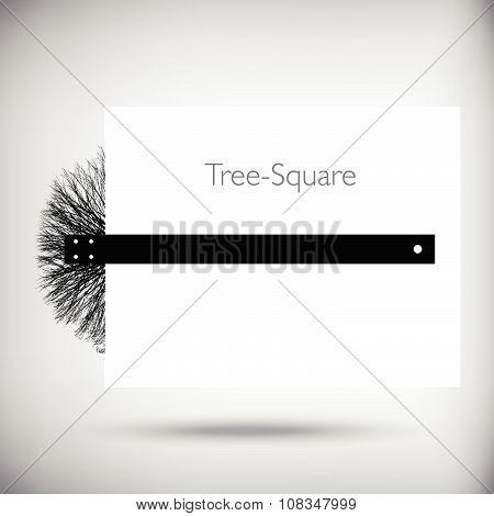Tree square whimsical illustration