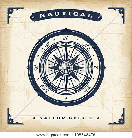 Vintage Nautical Compass. EPS10 vector illustration. Use gradient mesh and transparency.