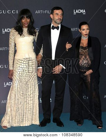 LOS ANGELES - NOV 7:  Naomi Campbell, Ricardo Tisci, Kim Kardashian at the LACMA Art + Film Gala at the  LACMA on November 7, 2015 in Los Angeles, CA