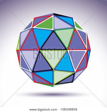 Bright Abstract Spherical Object With Kaleidoscope Effect, 3D Element. Modern Orb Constructed From C