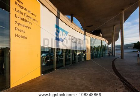 BARCELONA, SPAIN - NOVEMBER 10, 2015: Main Entrance to  SAP TechEd 2015 conference at Fira Barcelona