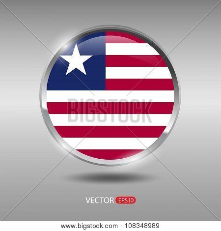 Shiny, glossy vector badge with Liberia flag