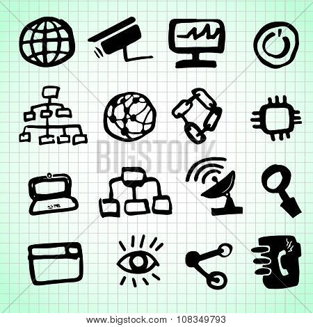 Business network and internet communication line art icons