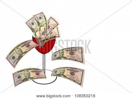 Money Overflowing From A Wine Glass