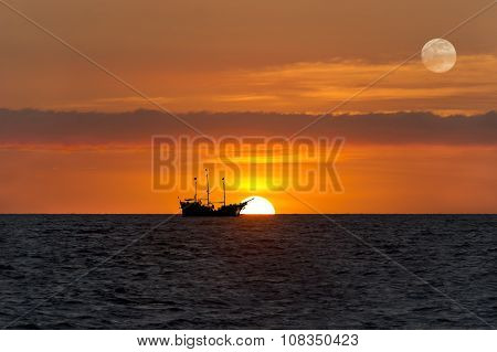 Ship Silhouette Sunset