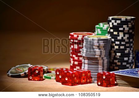 Poker cards and poker chips on the table