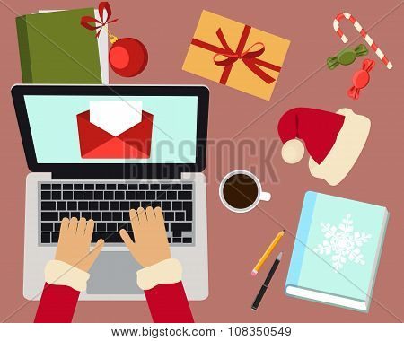 Workplace of Santa Claus. Santa Claus reading a letter. Vector illustration