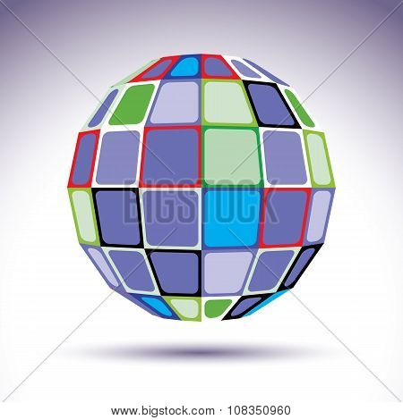 Turquoise Spherical Fractal Object, Dimensional Disco Ball With Kaleidoscope Effect. Modern Orb Crea