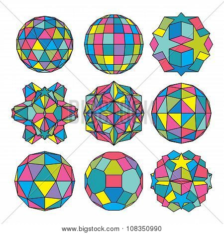 Collection Of 9 Complex Dimensional Spheres And Abstract Geometric Figures With Black Outline. Color