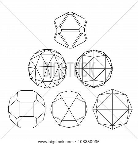 Collection Of 6 Black And White Complex Dimensional Spheres And Abstract Geometric Figures. Set Of F