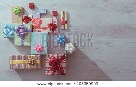 Lots Of Colorful Gifts On A Table