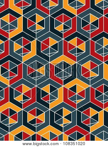 Colorful Abstract Textured Geometric Seamless Pattern With Geometric Figures. Vector Bright Textile