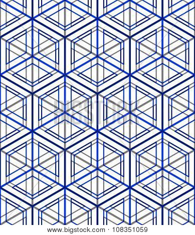 Regular Colorful Endless Pattern With Intertwine Three-dimensional Figures, Continuous Illusory