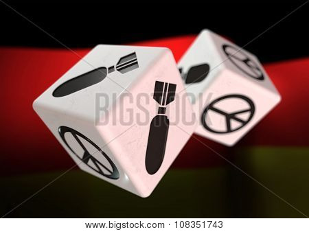 Dice With War And Peace Symbols On Each Side. Rolling Dice With German Flag In Background.