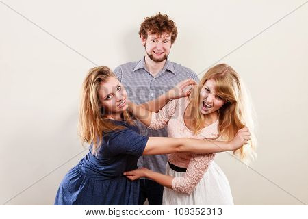 Aggressive Mad Women Fighting Over Man.