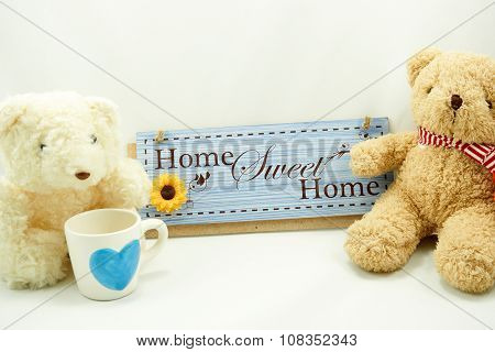 Home Sweet Home Label With Brown And White Teddy Bear