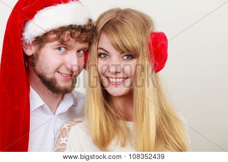 Happy Cute Couple Woman And Man. Christmas.