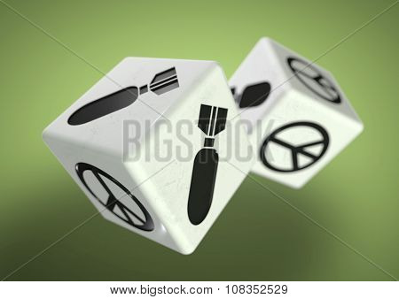 Dice With War And Peace Symbols On Each Side. Concept For Making A Difficult Decision.