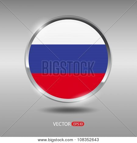 Shiny, glossy vector badge with Russia flag