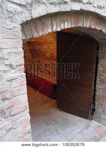 Mysterious Door, Secret Entrance With Warm Light Inside